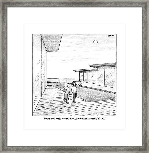Two Men Touring The Outside Of A Big House Framed Print