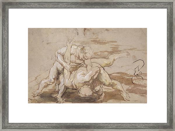 Two Men Wrestling Framed Print