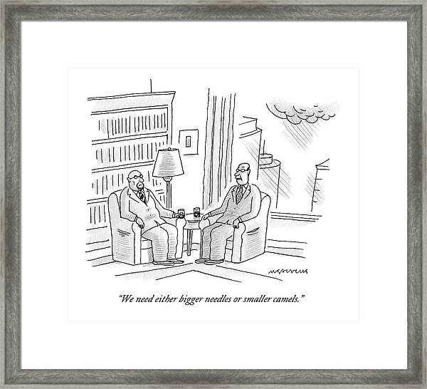 Two Middle Age Men In Suits Talk In An Office Framed Print