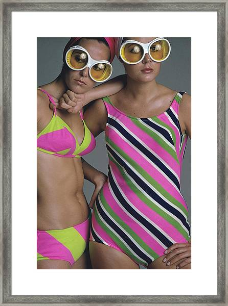 Goggles And Striped Swimsuits Framed Print by Jean-Jacques Bugat