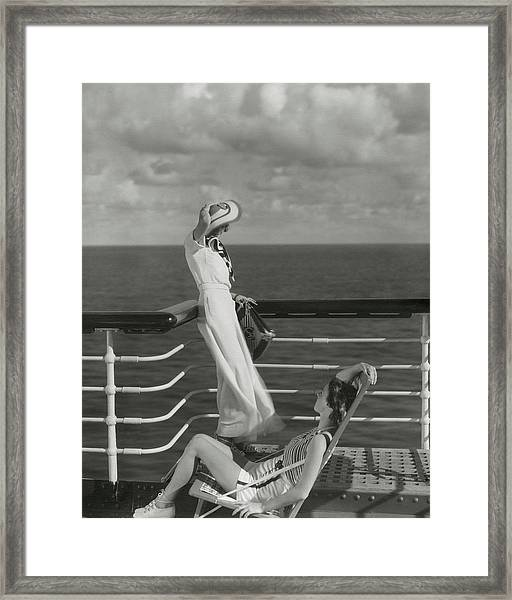 Two Models On The Deck Of A Cruise Ship Framed Print