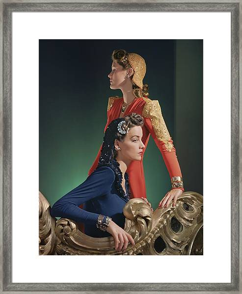 Two Models Wearing Evening Gowns Framed Print