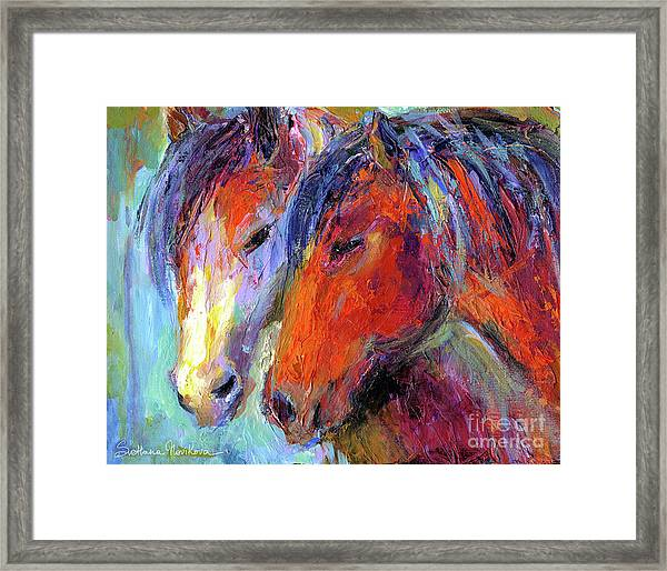Two Mustang Horses Painting Framed Print