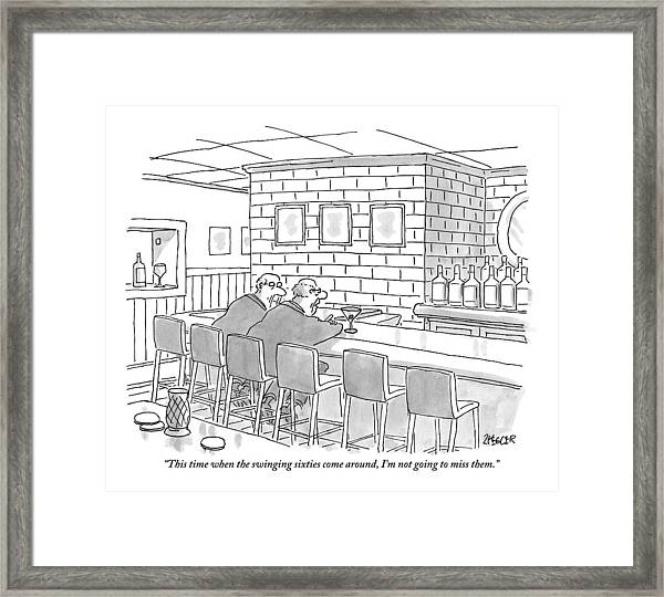 Two Older Men Are Sitting An An Empty Bar Talking Framed Print