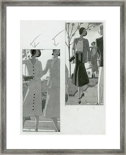 Two Panel Illustration Of Fashionable Women Framed Print