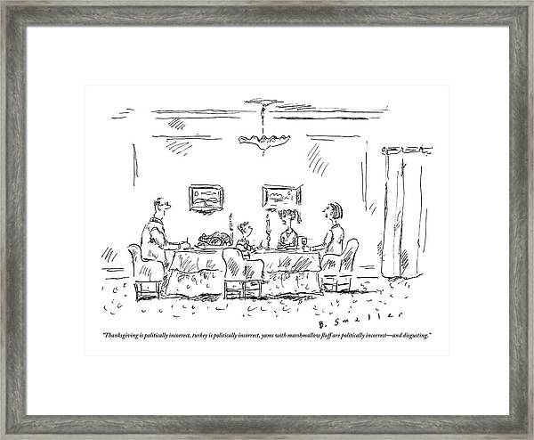 Two Parents And A Daughter At Their Full Dinner Framed Print