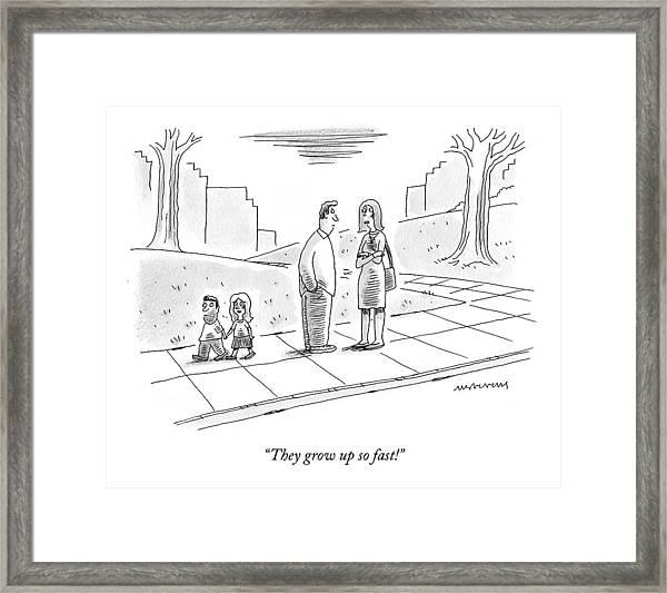 Two Parents Talk About Their Children Framed Print