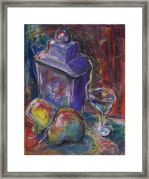 Two Pears And A Purple Jar Framed Print