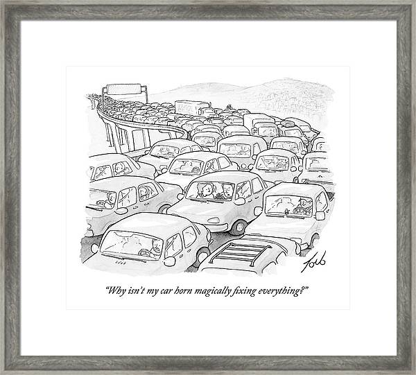 Two People In A Car Speak While Sitting Framed Print