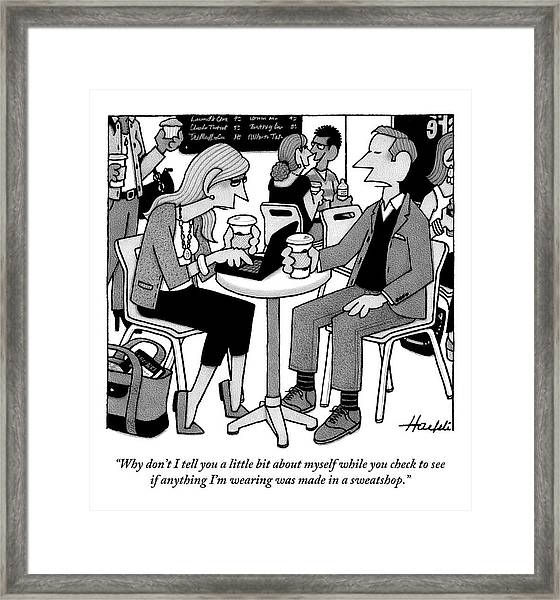 Two People Sitting At A Table Drinking Coffee Framed Print