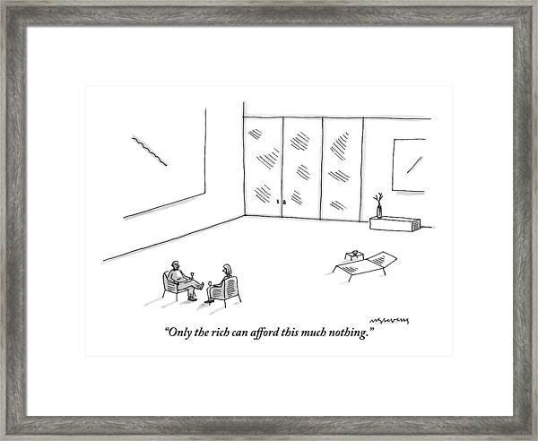 Two People Sitting In An Empty Room Framed Print