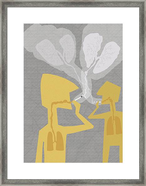 Two People Smoking Cigarettes Framed Print by Fanatic Studio / Science Photo Library