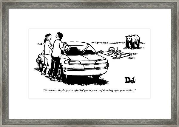 Two People Standing Behind Car Looking At Picnic Framed Print