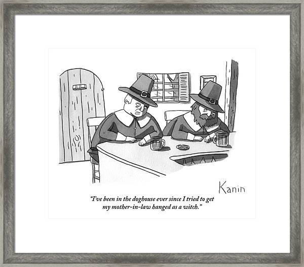 Two Puritan Men Sit At A Bar Together Framed Print