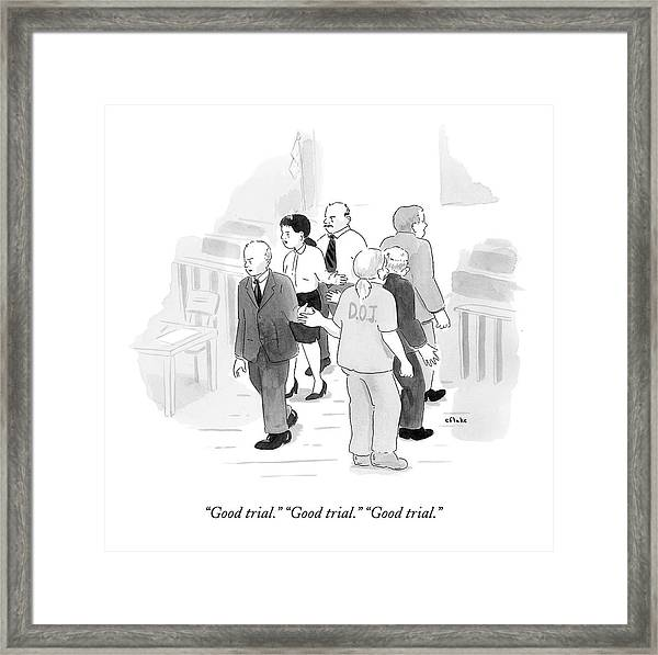 Two Rows Of Three People High Five Each Other Framed Print