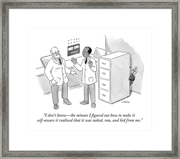 Two Scientists Talking While A Scared Robot Hides Framed Print