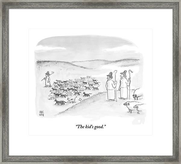 Two Shepherds With Conventional Sheep Look Framed Print