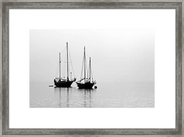 Two Ships In The Fog Framed Print