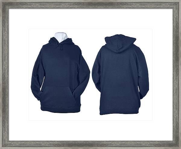 Two Side Of Wrinkled Blank Blue Shirts Framed Print by Pbombaert