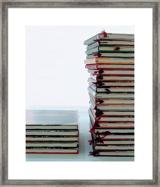 Two Stacks Of Books Framed Print