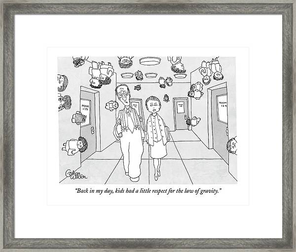 Two Teachers Walking Down The Hall While Students Framed Print