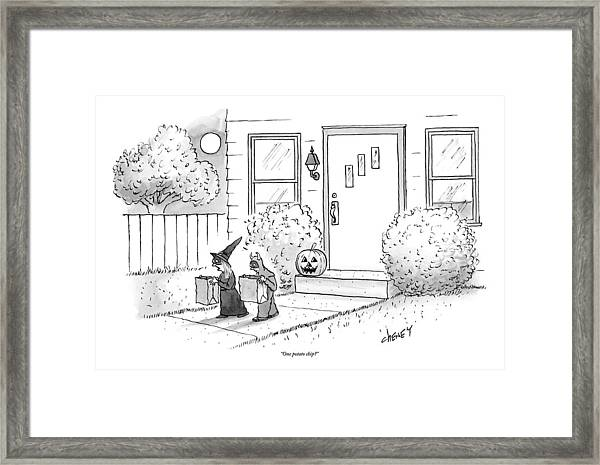 Two Tirck-or-treaters--one Is A Witch Framed Print