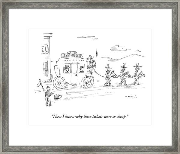 Two Travellers On Stagecoach Notice That Framed Print
