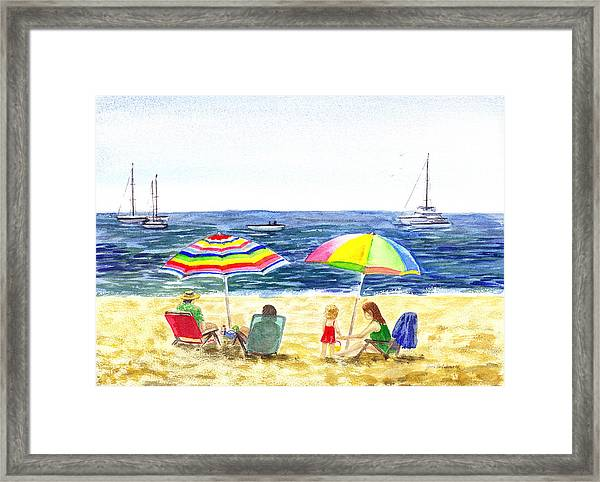 Two Umbrellas On The Beach California  Framed Print