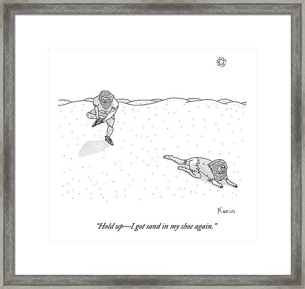 Two Weathered Men Traverse A Desert. One Stops Framed Print