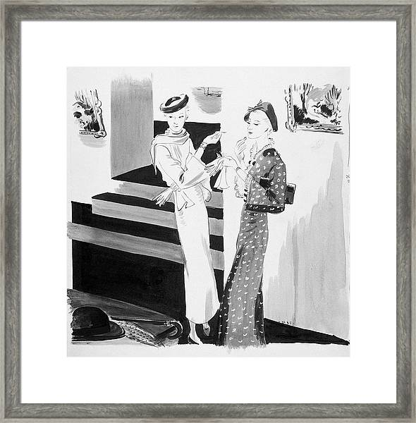 Two Women Applying Their Makeup Framed Print