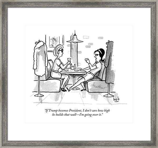 Two Women Drinking At A Restaurant Framed Print