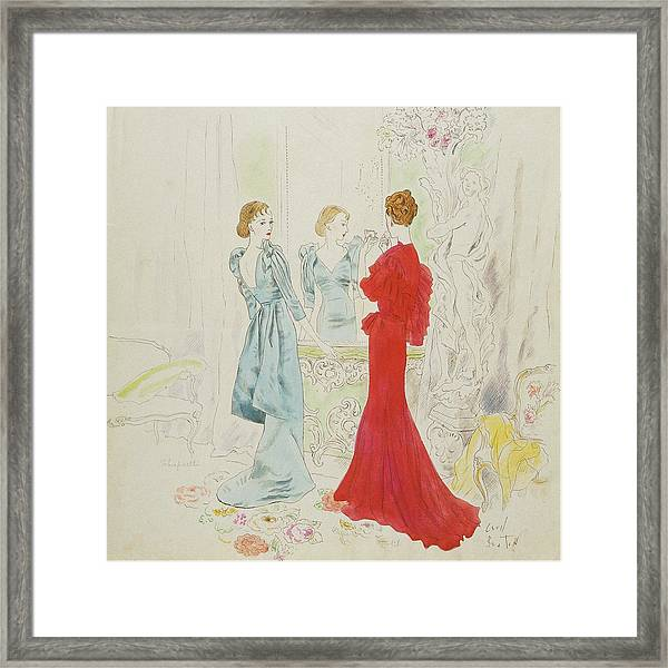 Two Women Getting Ready In Schiaparelli And Worth Framed Print by Cecil Beaton