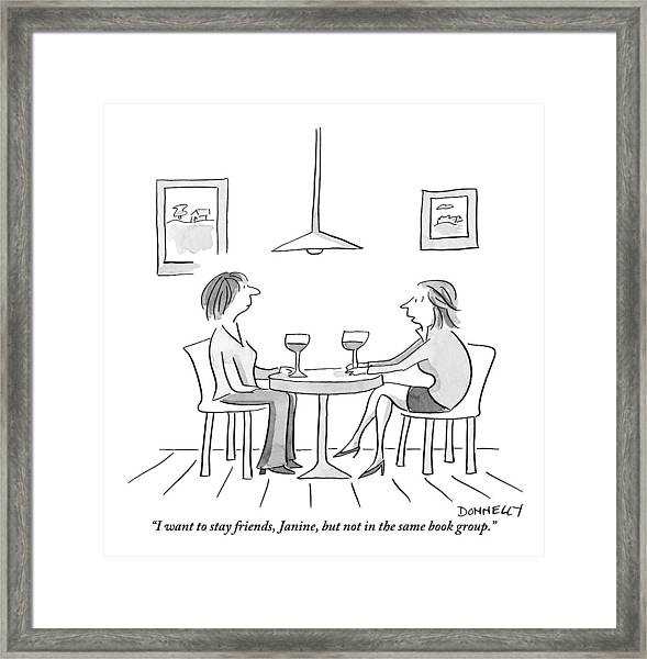Two Women Sit Across From Each Other At A Small Framed Print