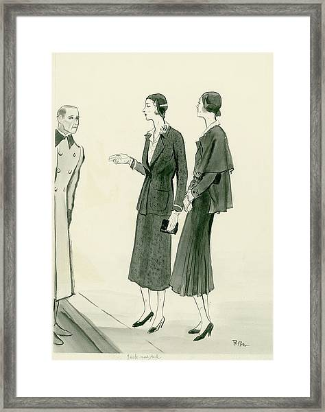 Two Women Wearing A Chanel Jersey Suit Framed Print