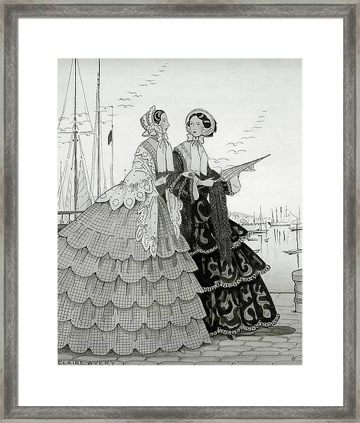 Two Women Wearing Large Dresses With Hoop Skirts Framed Print by Claire Avery