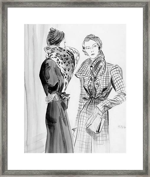 Two Women Wearing Schiaparelli Coats Framed Print