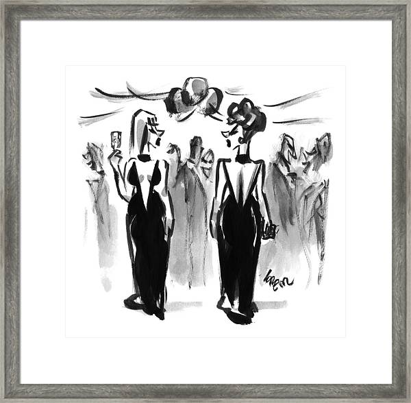 Two Women Wearing The Same Dress At A Cocktail Framed Print