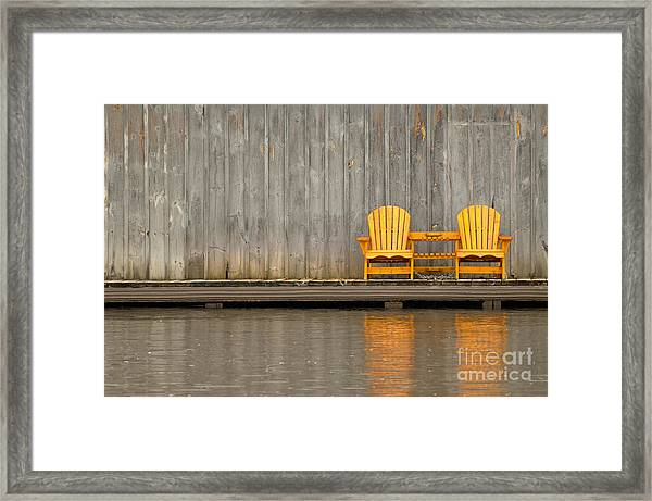 Two Wooden Chairs On An Old Dock Framed Print