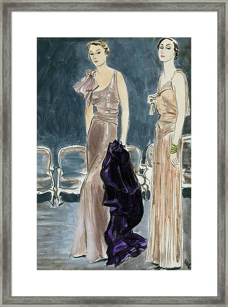 Two Young Women Wearing Augustabernard And Patou Framed Print