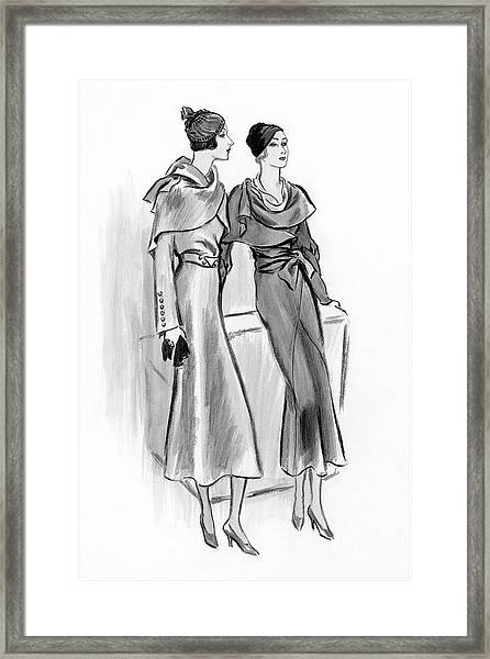 Two Young Women Wearing Redfern And Lucile Paray Framed Print
