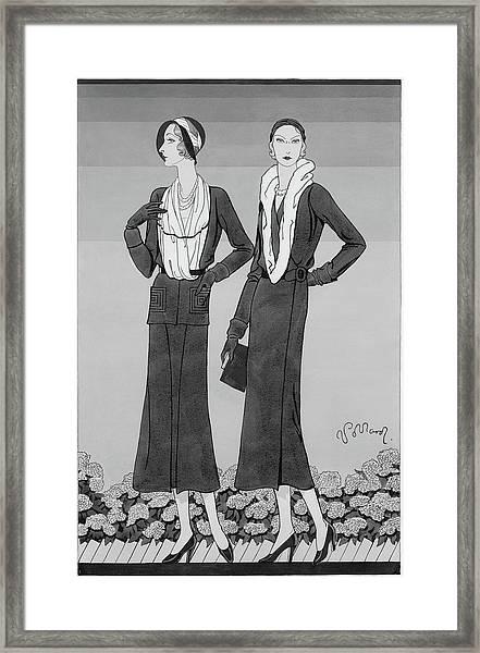 Two Young Women Wearing Schiaparelli Coats Framed Print