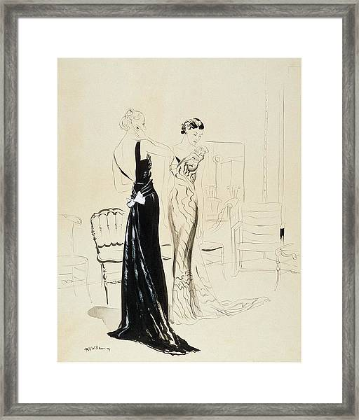 Two Young Women Wearing Schiaparelli Evening Framed Print by Rene Bouet-Willaumez