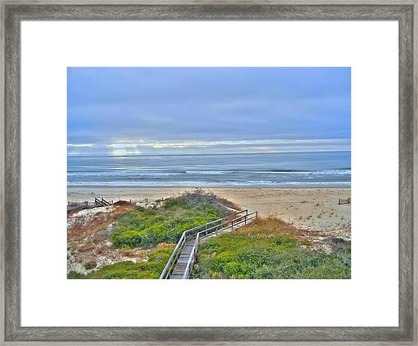 Tybee Island Beach And Boardwalk Framed Print