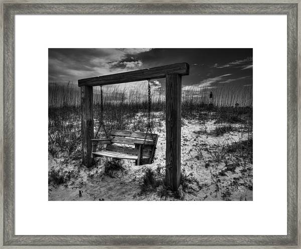 Framed Print featuring the photograph Tybee Island Swing 003 Bw by Lance Vaughn