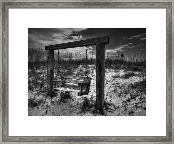 Tybee Island Swing 003 Bw Framed Print
