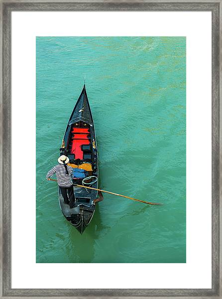 Typical Gondola In Venice - Italy Framed Print