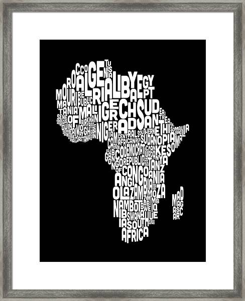 Typography Map Of Africa Map Framed Print