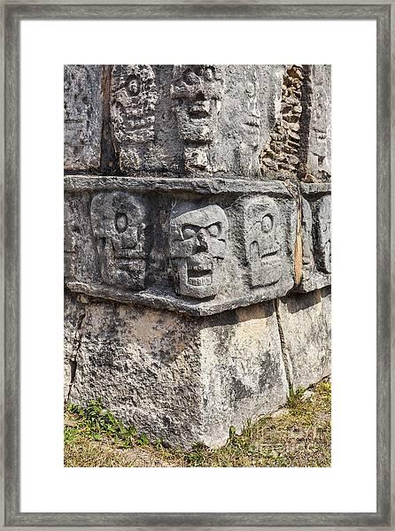 Tzompantli Or Platform Of The Skulls At Chichen Itza Framed Print