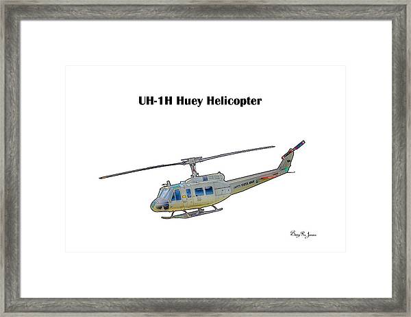 Framed Print featuring the digital art Uh-ih Huey Helicopter by Barry Jones