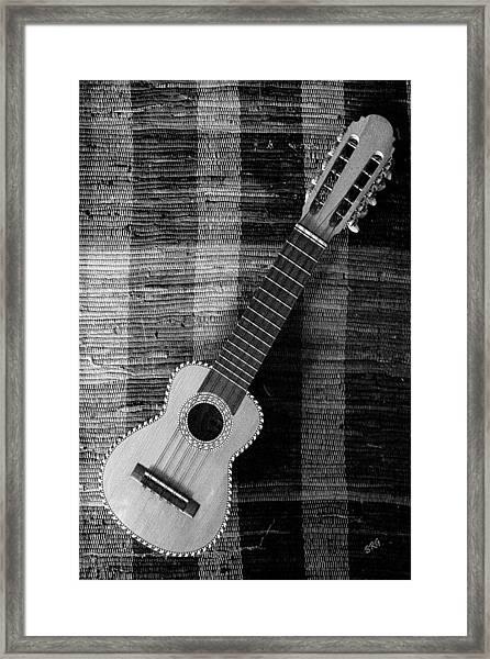 Ukulele Still Life In Black And White Framed Print